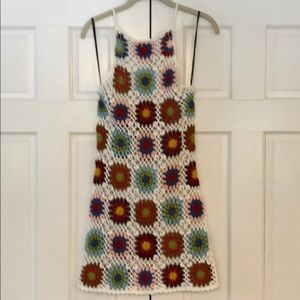 Crochet mini dress/beach coverup
